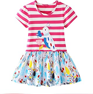 HILEELANG Little Girls Cotton Dress Casual Summer Sundress Flower Printed Jumper Skirt