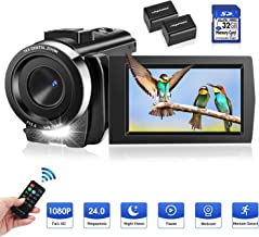 Video Camera Camcorder Full HD 1080P 30FPS Digital Camera 16X Digital Zoom Camcorder Vlogging Camera for YouTube 3.0 Inch LCD 270 Degrees IPS Screen LED with 32GB Card 2 Batteries