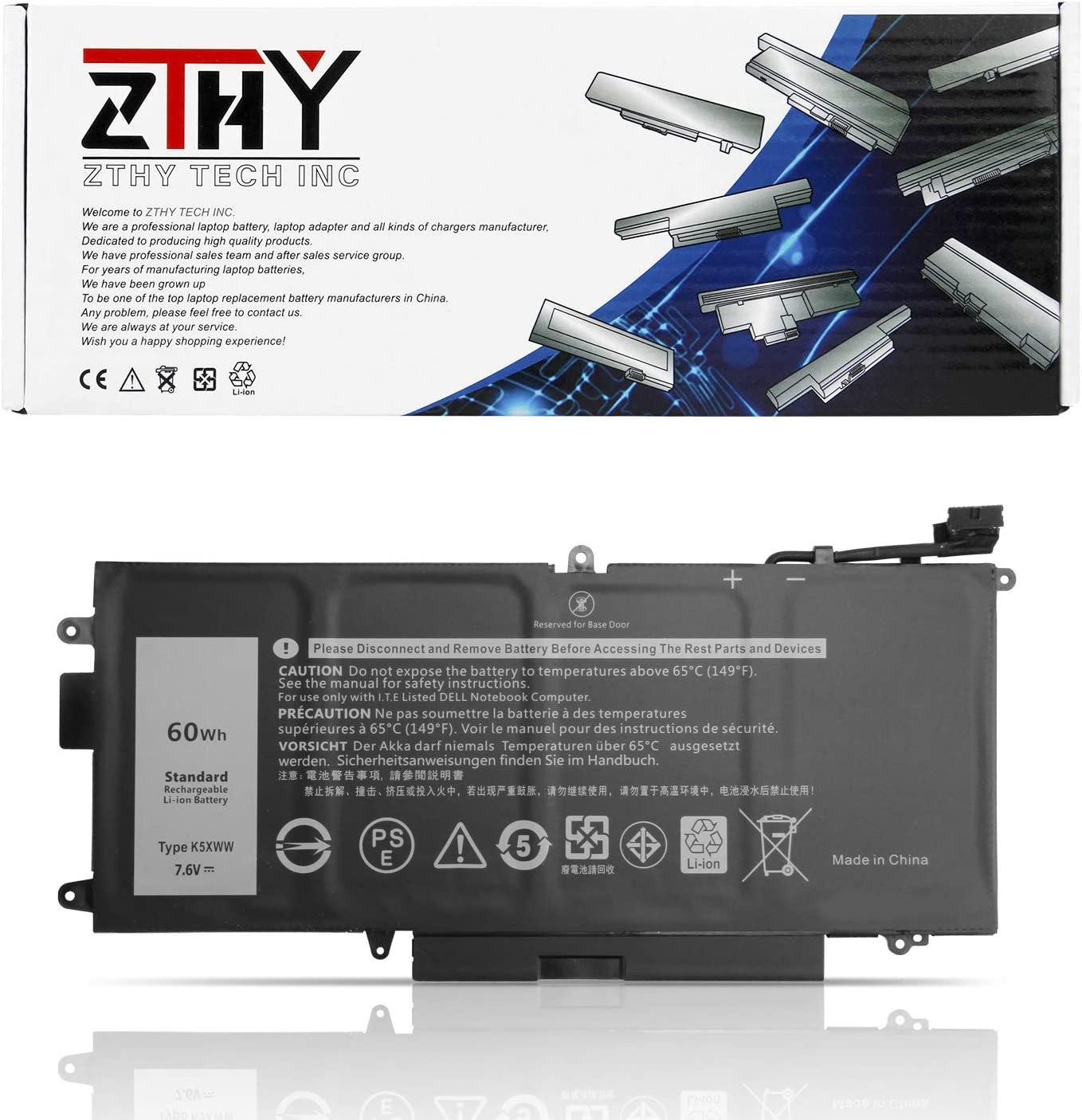ZTHY 7.6V 60Wh Limited time trial price Ranking TOP4 K5XWW Laptop Replacement Latitud Dell Battery for