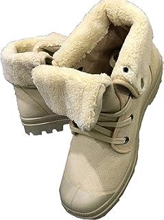 DJiess Hommes Bottes d'hiver Chaussures décontractées Haute Aide Style Couleur Unie antidérapante Toile en Peluche Garder ...