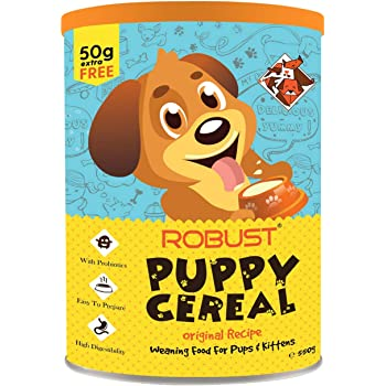 ROBUST Puppy Cereal : Original Recipe - 550g (500g + 50g Free) | with Probiotics | Easy to Prepare | 100% Vegetarian | All - Natural Ingredients