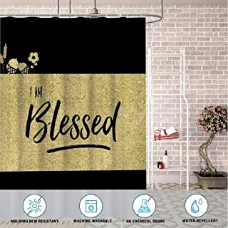 Masa FF Store Bathroom Decorative Polyester Fabric Waterproof Shower Curtain Blessed Theme Design Fabric Bathroom Decor Set with Hooks 60inch72inch
