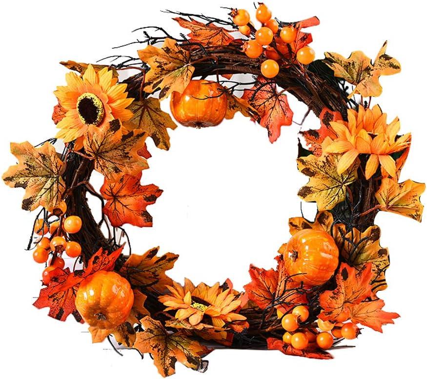 Adonisaon Fall Halloween 超特価SALE開催 Thanksgiving Wreath お得セット Decoration Pumpkin