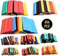 656pcs Heat Shrink Tubing - Wire Shrink Wrap Tubing Wire Heat Shrink Tube Insulation Electrical Colored Assorted Heat Shrink Tubing Assortment Ratio 2:1 Electric Insulation Tube - Multicolor