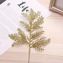 DUDNJC 10Pcs Artificial Christmas Glitter Fern Leaf, Gold Simulated Tree Branch Spray Christmas Tree Ornament, DIY Xmas Wr...
