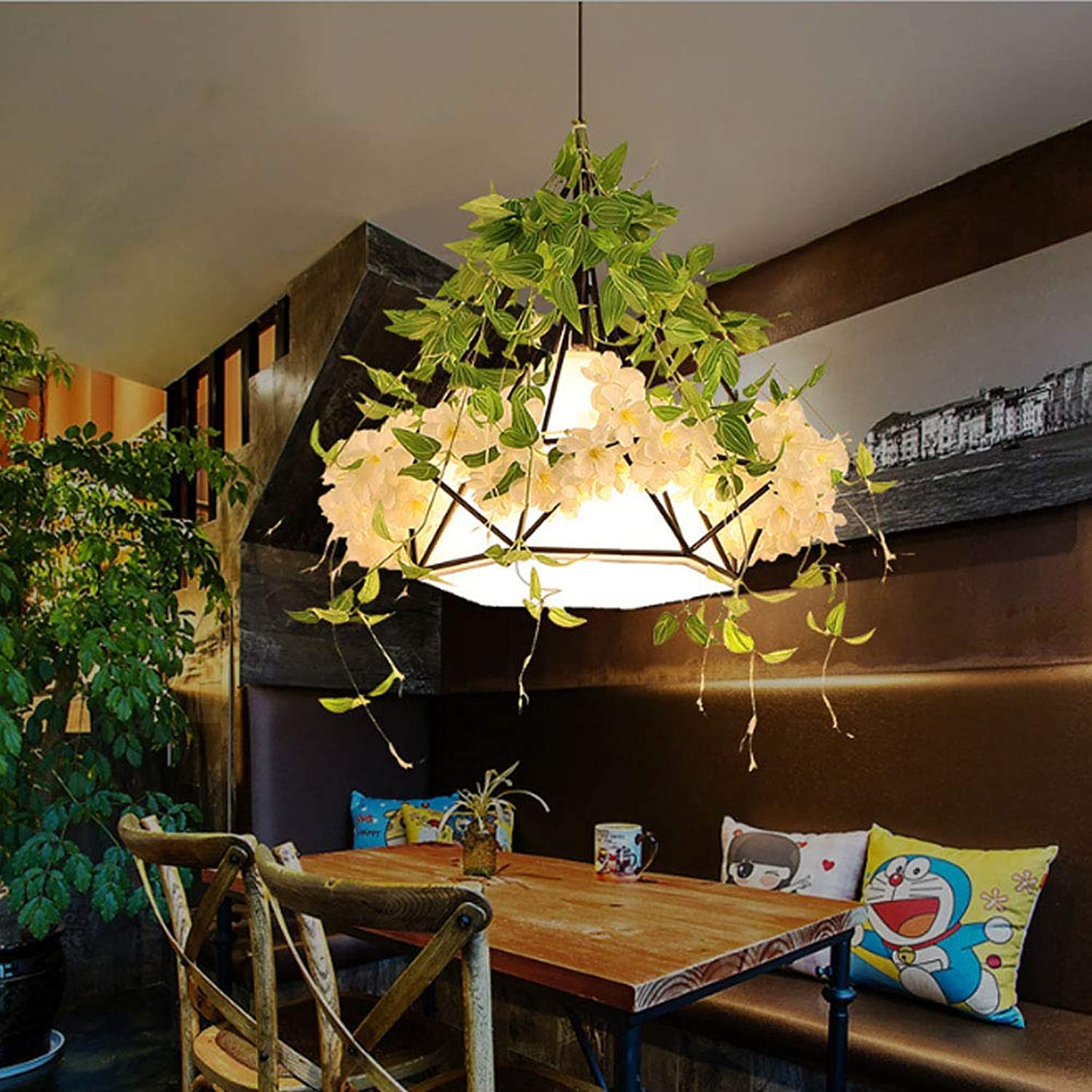 LL Pendant Light Retro Industrial Style Diamond Chandelier Creative Simple for Dining Rooms Window Coffee Shop Chandeliers,Weiß,25x25cm