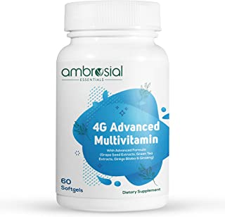 Ambrosial 4G Advanced Multivitamin for Women and Men, Real Food-Based with 45 Essential Active Vita (Pack of 1)