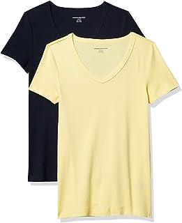 Amazon Essentials Donna T-shirt con scollo a V a maniche corte slim