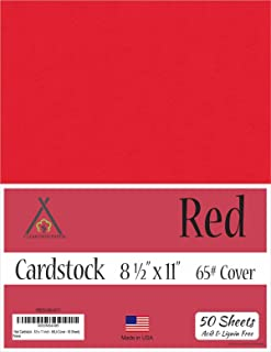 Red Cardstock - 8.5 x 11 inch - 65Lb Cover - 50 Sheets