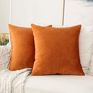 HOME BRILLIANT Set of 2 Velvet Burnt Orange Throw Pillow Covers Square Decorative Cushion Cover Pillowcases, 45cm x 45cm(1...