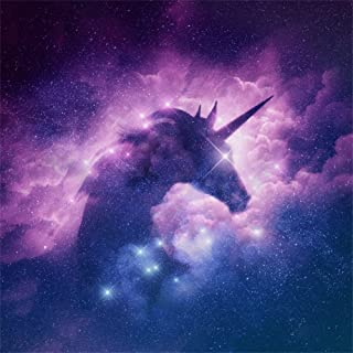 LFEEY 5x5ft Polyester Starry Stars Unicorn Silhouette Backdrop Universe Galaxy Nebula Cloud Photo Background for Baby Shower Kids Birthday Party Wallpaper Photography Studio Props No Wrinkle