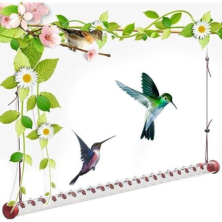 Bob's Best Hummingbird Feeder - 19.7'' Red Transparent Feeding, Tube Hummingbird Feeder, Easy to Use Hanging Hummingbird feeders, Hummingbird Feeders for Outdoors, Deck, Patio, Garden, Yard