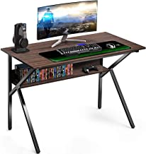 "FITUEYES Gaming Computer Desk with Storage Shelf K Shaped Sturdy 42"" Writing Table for Home and Office, KCD110601WE"