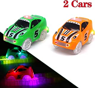 Mini Tudou Track Cars Toy 2 Pack,Replacement Only Light Up Toy Cars Compatible with Magic Tracks&Neo Tracks with 3 LED Lig...