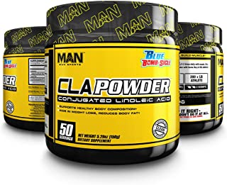 Man Sports CLA Powder - Pure Conjugated Linoleic Acid Powder - Fat Loss Aiding Supplement - Supports Lean Muscle Mass Hypertrophy - 170 Grams, 50 Servings - Blue Bomb-Sicle