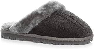 AJVANI Womens Ladies Flat Low Heel Winter Faux Fur Lined Mules Slippers Size 8 41