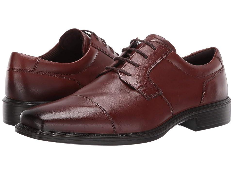 ECCO Minneapolis Cap Toe Tie (Cognac Full Grain Leather) Men