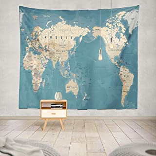 Soopat Tapestry Polyester Fabric World Map Vintage Old Retro Asia in Center Wall Hanging Tapestry Decorations Bedroom Living Room Dorm 60X60 Inch