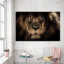 zgmtj León Blanco Negro Elefante Leopardo Caballo Arte de la Pared Pintura de la Lona Carteles Nórdicos E Impresiones Cuadros de la Pared para la Decoración de la Sala Sin Marco 50x70 cm