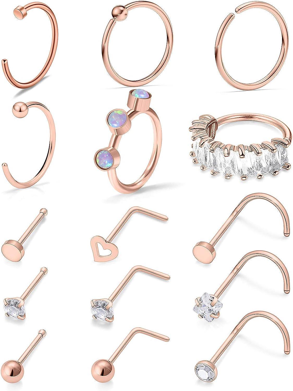 Vsnnsns 18G Nose Rings for Women Stainless Steel L Bone Screw Sh