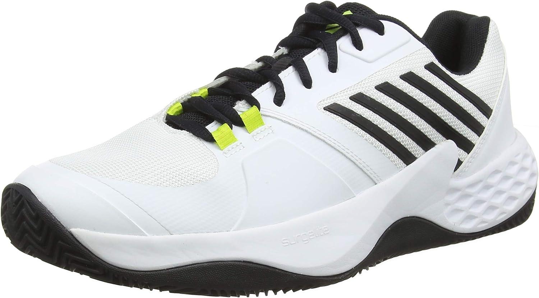 K-Swiss Perforhommece Aero Court HB, Chaussures de Tennis Homme, Blanc (blanc noir Neon jaune 124M), EU