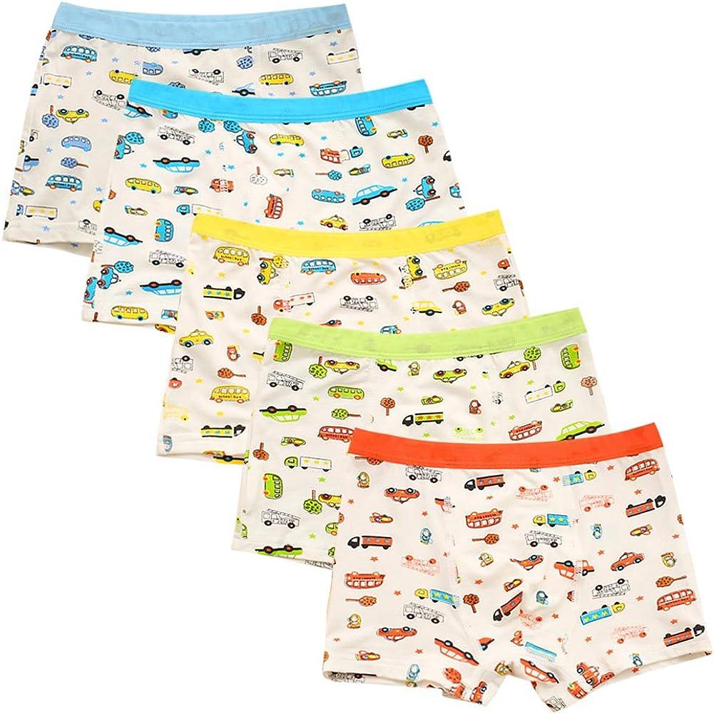 Evelin LEE 5-Pack Little Boys Soft Underwear Boxer Briefs Cartoon Boyshort Training Pants
