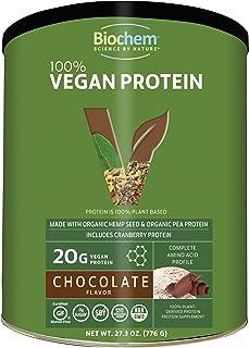 Biochem 100% Plant Protein - Chocolate - 27.3 Oz - 20g Vegan Protein - Complete Amino Acid Profile - KETO-Friendly - Hemp Seed - Pea Protein - Cranberry - Matcha Tea - Cocoa - Refreshing Taste