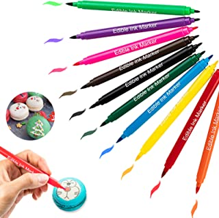 Edible Markers for Cookies Food Coloring Pens 10Pcs, Fine and Thick Tip Food Grade Gourmet Writers for DIY Fondant Cakes F...