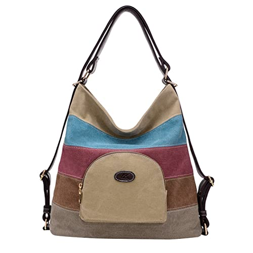 8bb31f1d8aa4 NOTAG Women s Shoulder Bag Canvas Multifunction Hobo Bag Casual Backpack  Purse Multi-Color Tote Handbags