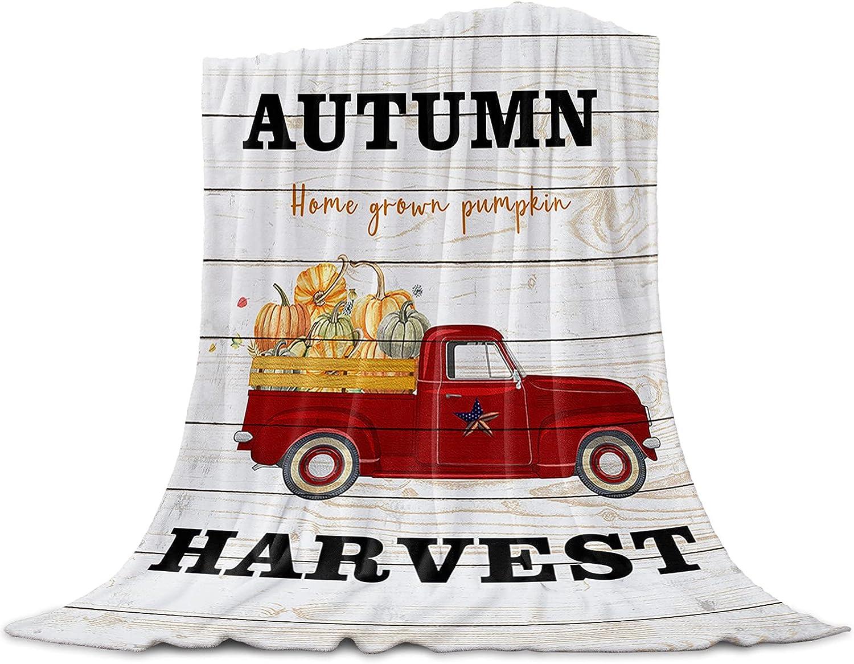 OneHoney Harvest Autumn Thanksgiving Vintage Price reduction Truck Blankets Flan Ranking TOP16