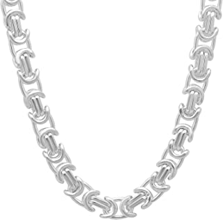 6.1mm 925 Sterling Silver Nickel-Free Byzantine Link Chain - Made in Italy + Jewelry Polishing Cloth