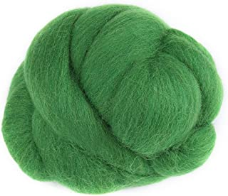 8 Colors 55g Colored Needle Felting Wool Roving SpinningSewing Trimming Handiwork Material (36-Green)