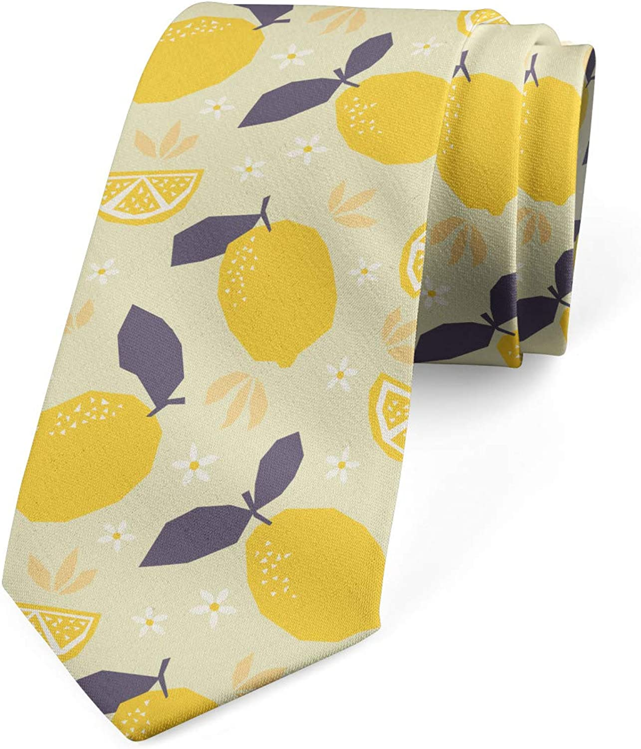 Ambesonne Necktie, Lemons and Blossoms, Dress Tie, 3.7