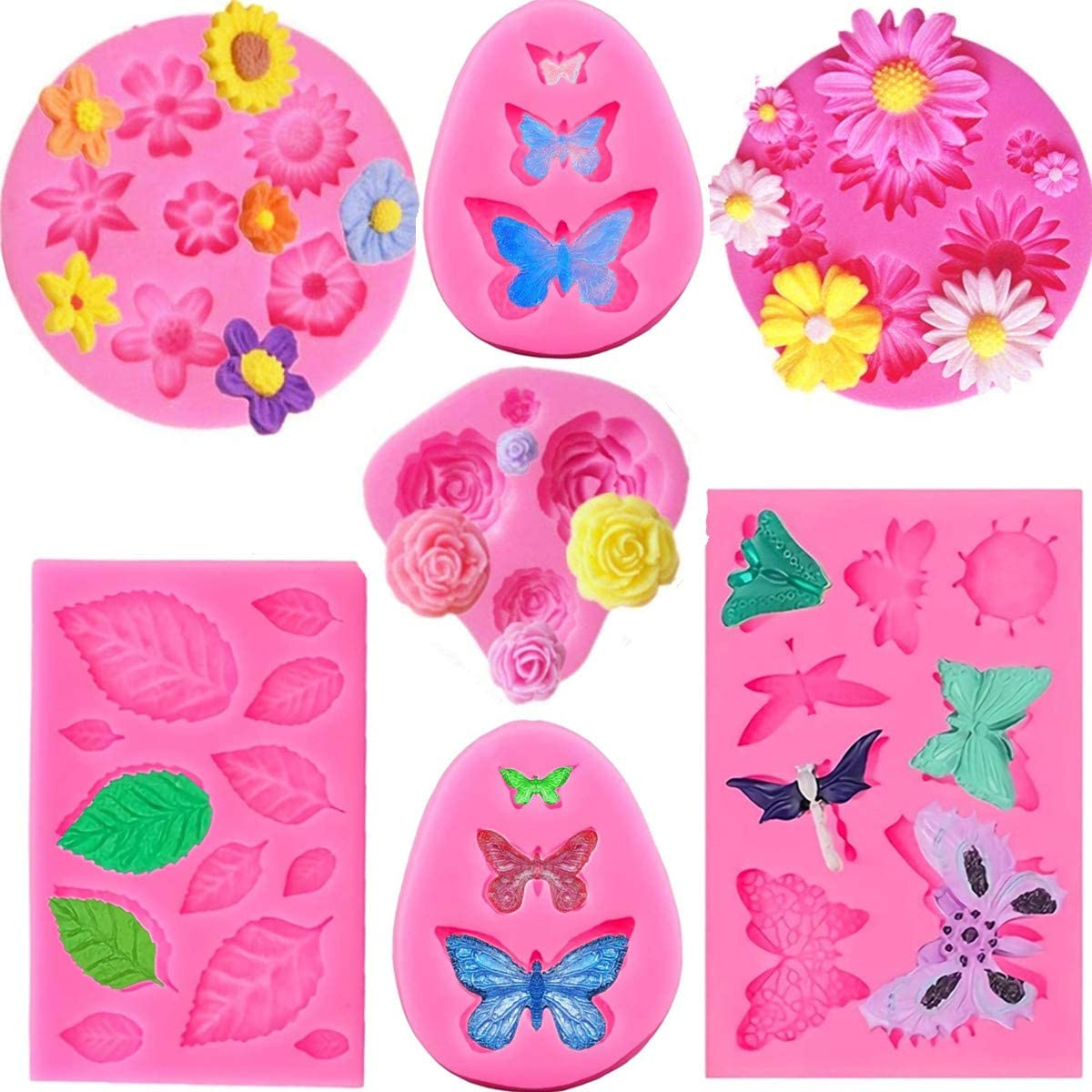 FIRETREESILVERFLOWER Silicone Boston Mall Max 84% OFF Mould for Flower and Can Butterfly