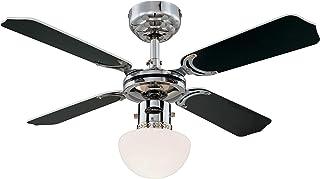 Westinghouse - 78321 Ventilateur de plafond d'intérieur à finition chrome de 90 cm Portland Ambiance, kit d'éclairage à dô...