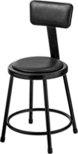 National Public Seating Black Vinyl Padded Stool with backrest 24 inch Height