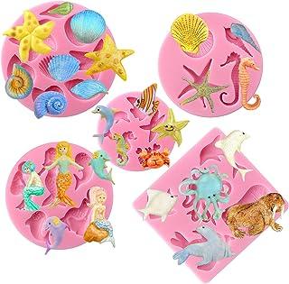 Funshowcase Mini Sea Creatures Summer Beach Theme Candy Silicone Mold for Sugarcraft, Cake Decoration,