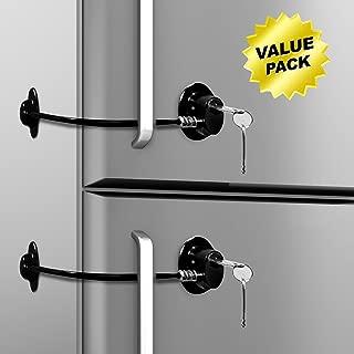Loot Lock Fridge Lock, Stick On Lock for Refrigerator Door with 2 Keys with 3M VHB for Child Safety, Cabinet Lock, Dorm Fridge Lock, Compact Freezer Lock (2 Pack) (2 Pack Black)