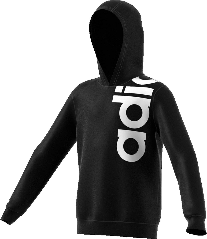 Adidas Boys' Yb Logo Hoody Sweatshirt, Black White Kids Hooded Top FM0696 New (140 (9/10 Years))