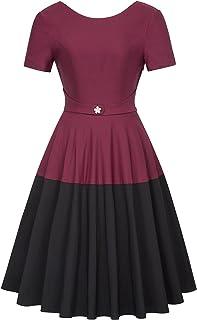 Belle Poque Retro Vintage Short Sleeve Contrast Color Cocktail Dress BP454