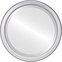 Decorative Mirror for Wall | Framed Round Beveled Wall Mirror | Toronto Style - Silver Spray - 26x26 outside dimensions
