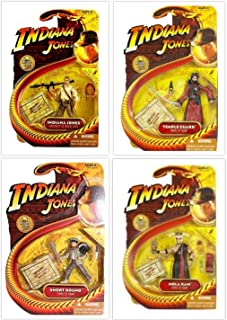 Indiana Jones 4 Piece Action Figure Lot with Crystal Skull Indiana Jones, Short Round, Temple Guard, and Mola Ram