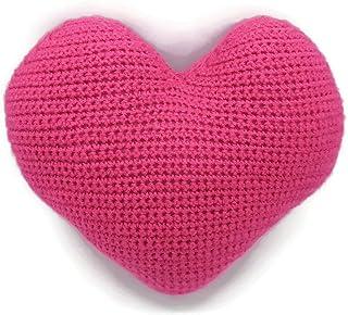 Cuscino cuore fucsia rosa decorazione cameretta bimbi culla neonati uncinetto morbido peluche