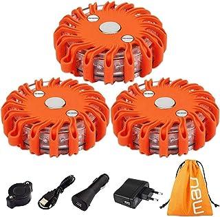 TEHEO Warnlicht LED wiederaufladbare Warnleuchte mit Magnet Ausfallwarnleuchte 9 Leuchtmodi Signallicht für Pannenhilfe oder Unfall 3 Stücke/Orange
