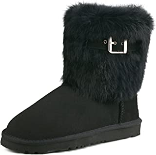 Women's Mid-Calf Fur Sheepskin Boot Winter Shoe 913030