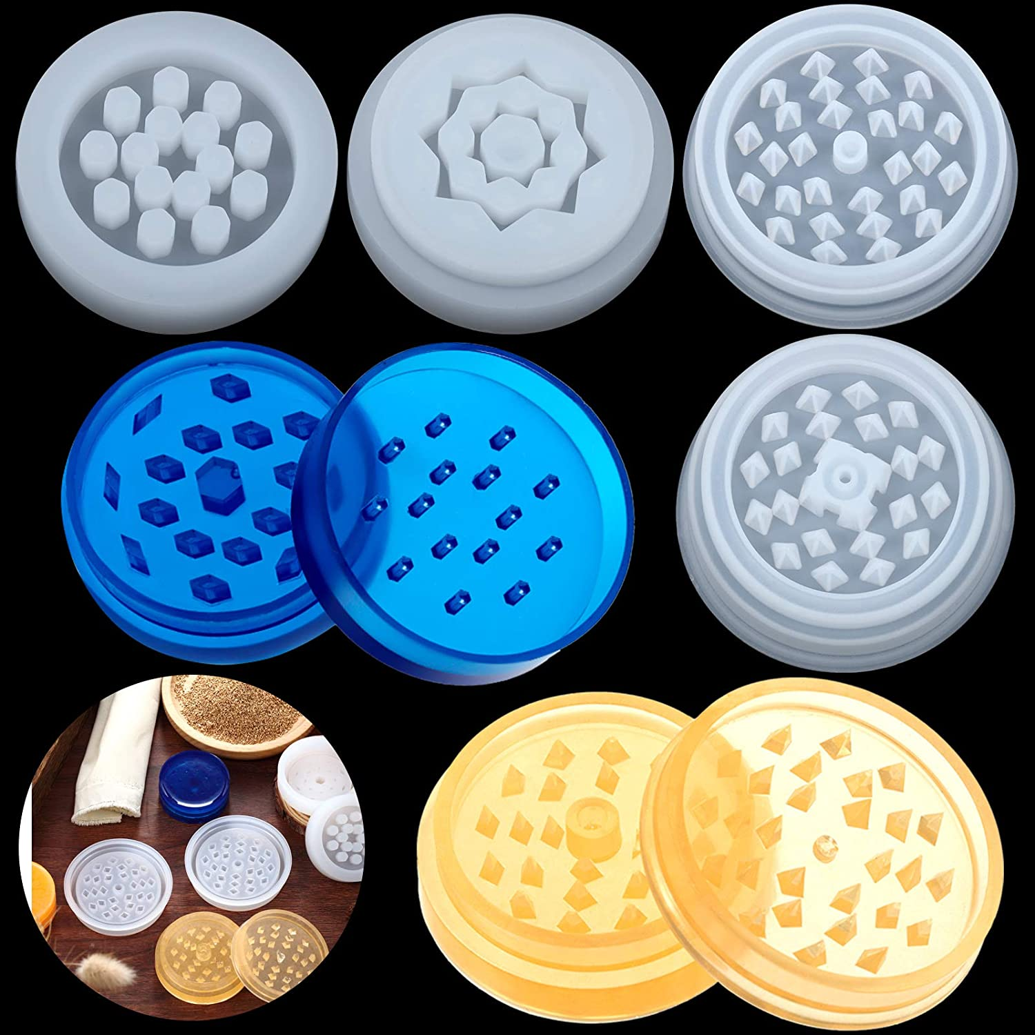 2 Cheap super special price Pairs Grinder Silicone Mold Crys Herb Spice In a popularity Resin