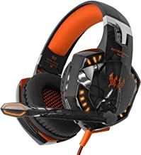 Kotion Each Over the Ear Headsets with Mic & LED - G2000 Edition (Black/Orange)