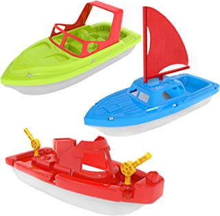 FUN LITTLE TOYS Bath Boat Toy, Pool Toy, 3 PCs Yacht, Speed Boat, Sailing Boat, Aircraft Carrier, Bath Toy Set for Baby To...