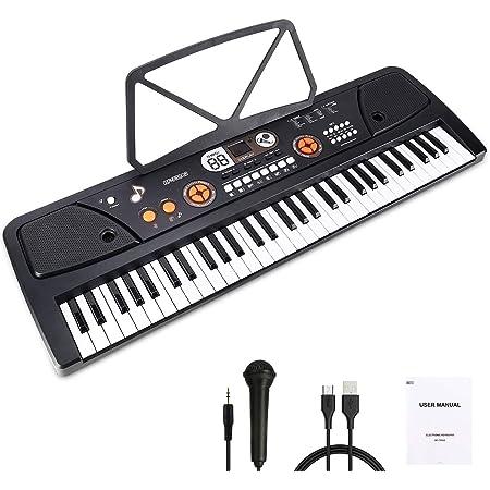 WOSTOO Teclado Electrónico Piano 61 Teclas, Teclado de Piano Portátil con Atril, Micrófono, Fuente de Alimentación, Música Digital, Teclado de Piano ...