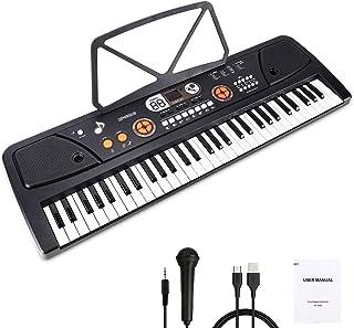 Barnpiano, 61 tangent bärbart digitalt pianotangentbord med musikstativ och interaktiv LCD-skärm, uppladdningsbar elektron...